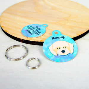Personalised Cavapoo Dog ID Tag - Watercolour  - Hoobynoo - Personalised Pet Tags and Gifts