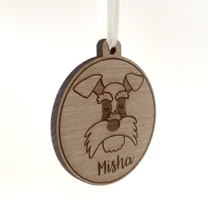Wooden Dog Christmas Decoration Personalised