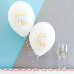 Woo Hoo Metallic Party Balloons Pack of Six
