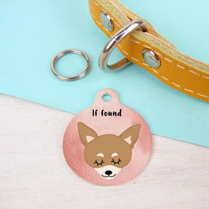 Chihuahua Copper Print Personalised Dog Id Tag - SMALL 25mm