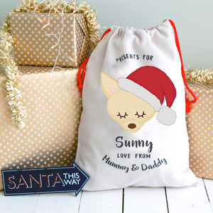 Chihuahua Personalised Christmas Present Sack  - Hoobynoo - Personalised Pet Tags and Gifts