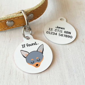 Chihuahua Personalised name ID Tag - White  - Hoobynoo - Personalised Pet Tags and Gifts