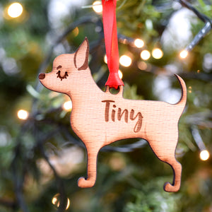 Personalised Wooden Chihuahua Christmas Decoration