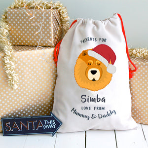 Chow Chow Personalised Christmas Present Sack  - Hoobynoo - Personalised Pet Tags and Gifts