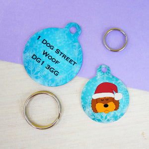 Cockapoo/ Labradoodle/ Bichon Frise Christmas Dog ID tag  - Hoobynoo - Personalised Pet Tags and Gifts