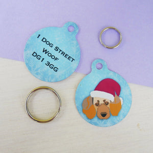 Personalised Cute Christmas Dog Breed ID tag