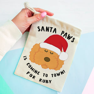 Cockapoo/ Labradoodle/ Bichon Frise Christmas Treat Present Bag  - Hoobynoo - Personalised Pet Tags and Gifts