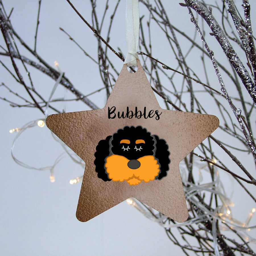Cockapoo/ Bichon Frise/ Labradoodle Personalised Christmas Decoration - copper