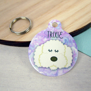 Cockapoo/Bichon Frise/ Labradoodle Dog ID Tag - Marbelled Swirls  - Hoobynoo - Personalised Pet Tags and Gifts