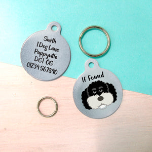 Cockapoo Silver Design Personalised Dog ID Tag  - Hoobynoo - Personalised Pet Tags and Gifts