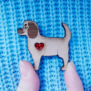 Cockapoo Brooch with Glitter Heart Detail