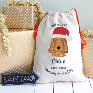 Cocker Spaniel Personalised Christmas Present Sack  - Hoobynoo - Personalised Pet Tags and Gifts