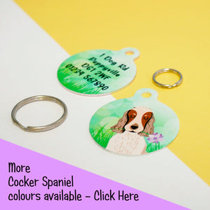 Cocker Spaniel Portrait Dog ID Tag - Spring Meadow