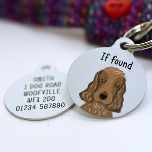 Cocker Spaniel Portrait Personalised Dog Tag - White