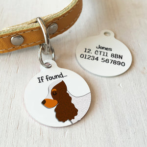 Cocker Spaniel Profile Personalised name ID Tag - White  - Hoobynoo - Personalised Pet Tags and Gifts