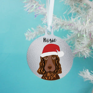 Cocker Spaniel Santa Dog Christmas Decoration - Silver
