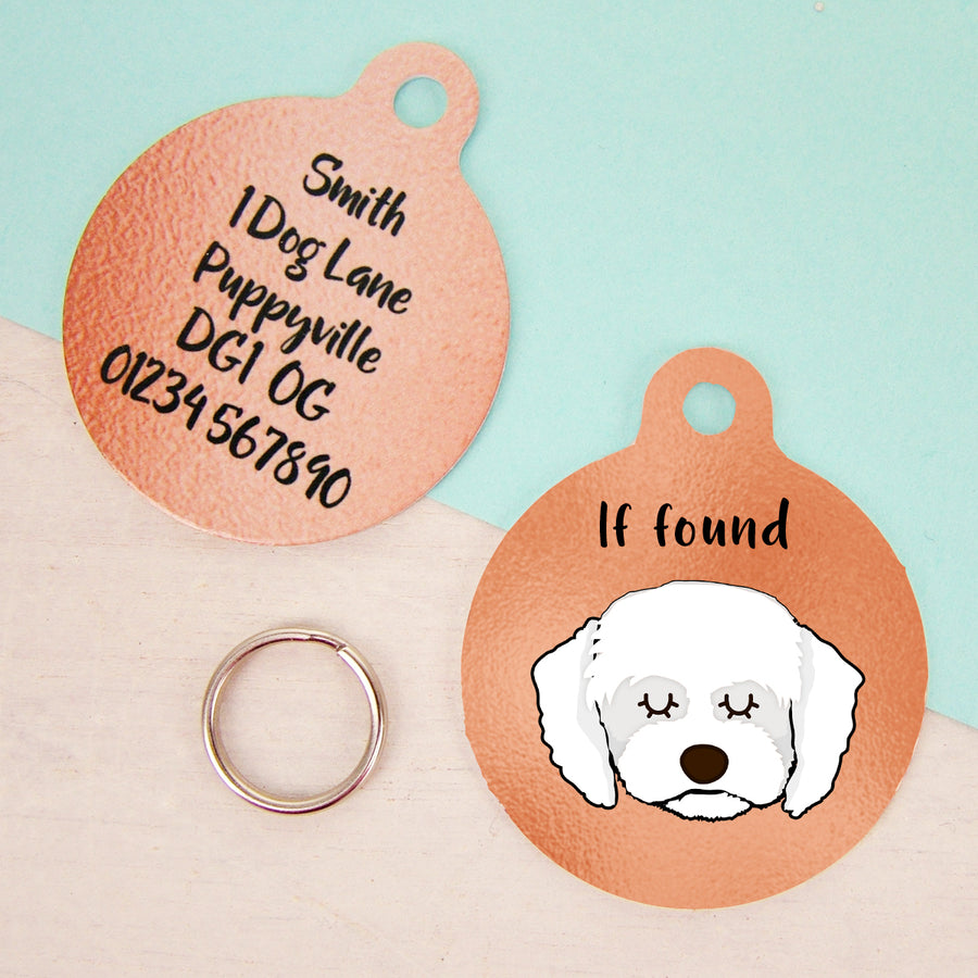 Cavapoo Copper Dog ID Tag - Monochrome