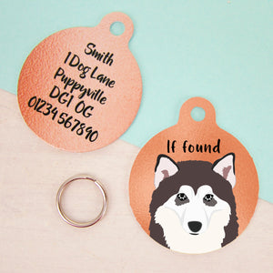 Alaskan Malamute Copper Personalised Dog ID Tag  - Hoobynoo - Personalised Pet Tags and Gifts