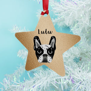 Frenchie Copper Printed Personalised Dog Christmas Decoration For French Bulldogs Star or Bauble  - Hoobynoo - Personalised Pet Tags and Gifts