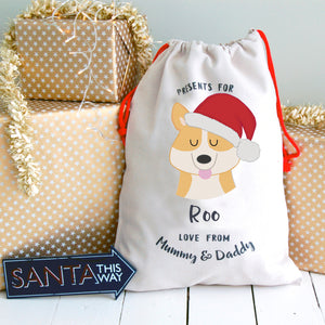 Corgi Personalised Christmas Present Sack  - Hoobynoo - Personalised Pet Tags and Gifts