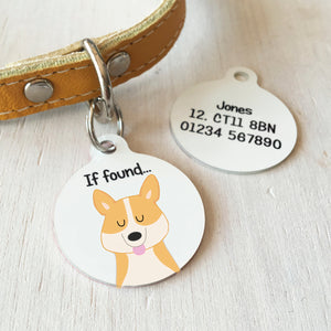 Corgi Personalised name ID Tag - White  - Hoobynoo - Personalised Pet Tags and Gifts