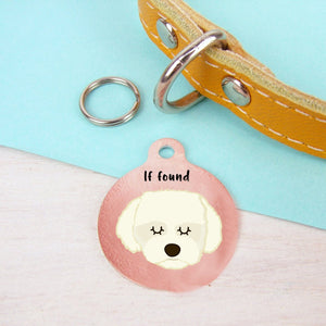 Coton Du Tulear/Maltese Terrier Personalised Dog ID Tag - Copper Print
