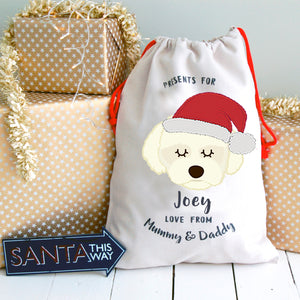 Coton De Tulear Personalised Christmas Present Sack  - Hoobynoo - Personalised Pet Tags and Gifts