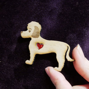 Coton Du Tulear Wooden Brooch with Glitter Heart Detail