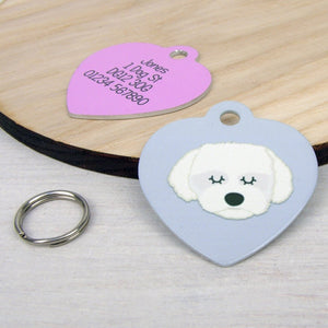 Coton Du Tulear/Maltese Terrier Personalised Dog ID Tag - HEART  - Hoobynoo - Personalised Pet Tags and Gifts