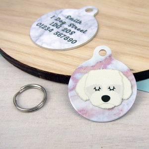 Coton Du Tulear/Maltese Terrier Personalised Dog ID Tag - Marble Print