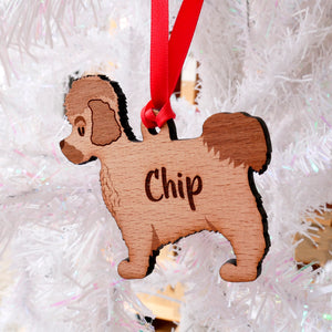 Maltese Terrier Personalised Wooden Christmas Decoration  - Hoobynoo - Personalised Pet Tags and Gifts