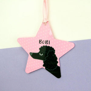 Personalised Poodle Christmas Tree Decoration - Polka Dot  - Hoobynoo - Personalised Pet Tags and Gifts