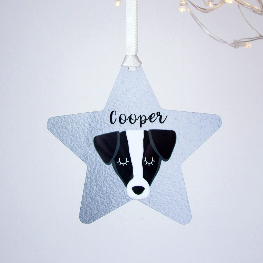 Silver Printed Personalised Dog Hanging Christmas Decoration  - Hoobynoo - Personalised Pet Tags and Gifts