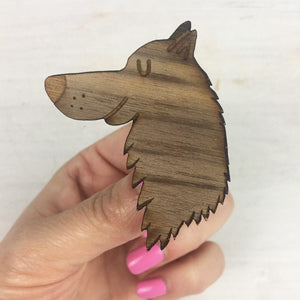 Wooden Wolf Brooch  - Hoobynoo - Personalised Pet Tags and Gifts