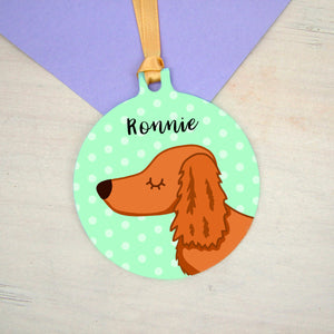 Dachshund Personalised Christmas Decoration - Polka Dots