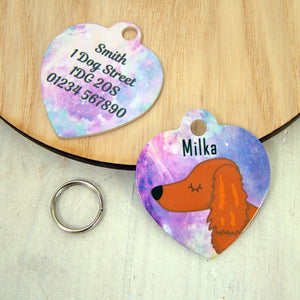 Dachshund Dog ID Tag -Universe HEART  - Hoobynoo - Personalised Pet Tags and Gifts