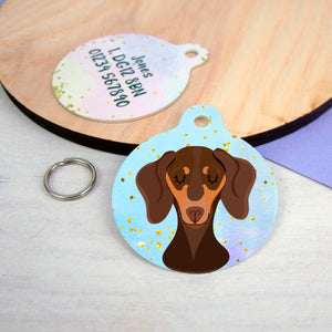 Dachshund Portrait Personalised Dog ID Tag Pastel Watercolour Gold Flake