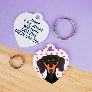 Valentines Dachshund ID Name Tag Personalised  - Hoobynoo - Personalised Pet Tags and Gifts