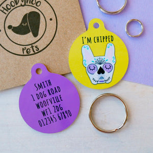 Personalised Dog ID Tag - Day of the Dead  - Hoobynoo - Personalised Pet Tags and Gifts