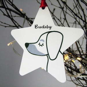 Monochrome Personalised Dog Hanging Christmas Decoration  - Hoobynoo - Personalised Pet Tags and Gifts