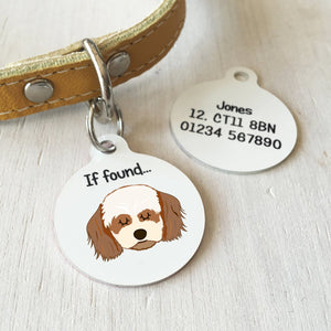 Cavachon Personalised name ID Tag - White  - Hoobynoo - Personalised Pet Tags and Gifts