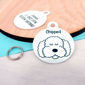 Personalised Cockapoo/Bichon Frise/Labradoodle Monochrome Dog ID Tag  - Hoobynoo - Personalised Pet Tags and Gifts