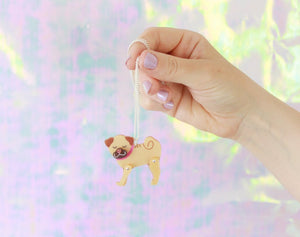 Pug Acrylic Necklace  - Hoobynoo - Personalised Pet Tags and Gifts