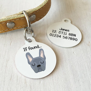 French Bulldog Portrait Personalised name ID Tag - White  - Hoobynoo - Personalised Pet Tags and Gifts