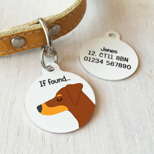 Doberman Personalised name ID Tag - White  - Hoobynoo - Personalised Pet Tags and Gifts