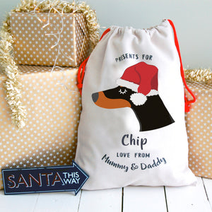 Doberman Personalised Christmas Present Sack  - Hoobynoo - Personalised Pet Tags and Gifts