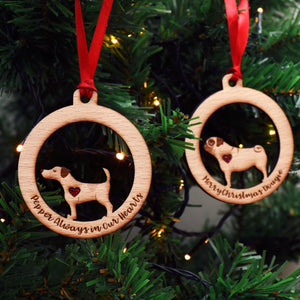 Personalised Dog Breed Wooden Heart Bauble Decoration