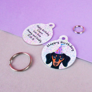 Birthday Confetti Dog ID Tag Personalised  - Hoobynoo - Personalised Pet Tags and Gifts