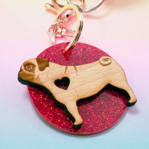 Dog Heart Glitter Keyring