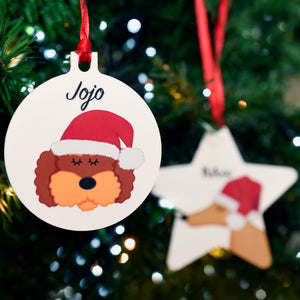 Santa Dog Christmas Decoration Personalised
